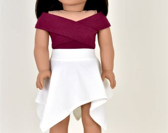 Wrap Top 18 inch doll clothes Color Burgundy