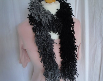 woman black-mix scarf, black shaggy boa, gray black tippet, wool-mix muffler, boho fashion scarf, long skinny boa, knitted neck-warmer, OOAK