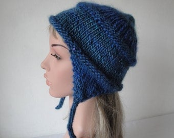woman trapper hat, blue multi chullo, cap with sequins, ear-flap hat, woman blue hat, winter warmer, teenage chullo, hat with chin ties