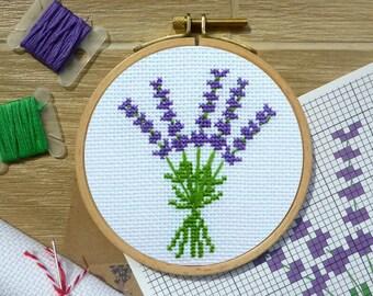 Lavender Cross Stitch DIY KIT. Lavender Cross Stitch Kit. Easy Cross Stitch KIT for beginners. Cross Stitch Gift for Lavender Lovers.
