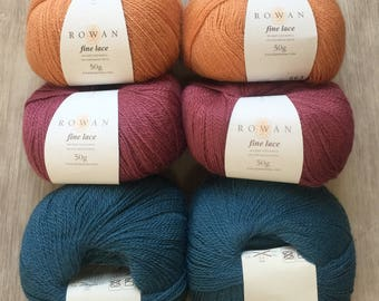 Rowan FINE LACE 8.99 +.75ea 2-Ply Baby Suri Alpaca & Fine Merino Lace Yarn 925 Quaint Rose-963 Orange Chalk-933 Aged Blue. MSRP 13.50
