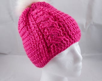 Bright Pink Cable Beanie with white pom pom