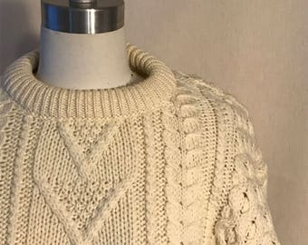 Authentic vintage 1960s/70s cable knit fisherman sweater
