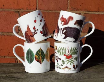 Woodland China Mug designs with illustrations by Alice Draws The Line; Autumn, Beech Leaves, Woodland Animals & Hedgehogs Juggling Rosehips