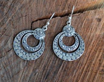 Sterling silver earrings, round earrings, tribal earrings (E467)