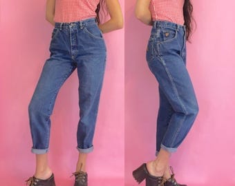 Vintage 90s High Waisted Blue Denim Tapered Mom Jeans Size 4
