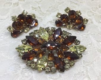 Vintage Amber Jonquil Rhinestone Brooch Earring Set