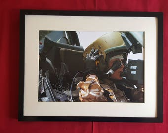 Female pilot, Apache Attack Helicopter, new print and frame.