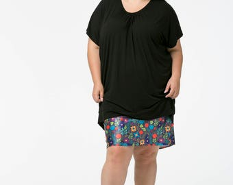 Floral Fantasy on charcoal print pencil skirt in wide size range all sizes 6 up to size 36