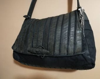Black Leather and canvas Tote Bag - Soft Leather Bag - Shoulder Bag - Every Day Bag - Sac Bag - Women Bag - Office Bag - Charley Bag