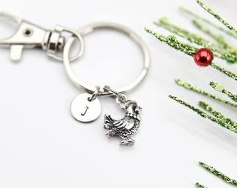 Chicken Keychain Farmer Keychain Farmer Gift Silver Chicken Charm Hen Charm Chicken Lover Gift Personalized Initial Keychain Initial Charm