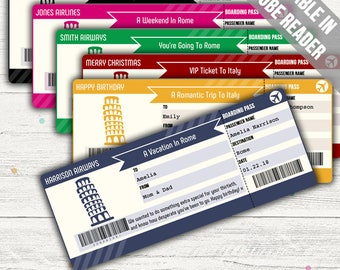 Surprise Trip To Rome Boarding Pass (Trip To Italy Surprise Ticket). Six Colors. Editable. Instant Download.