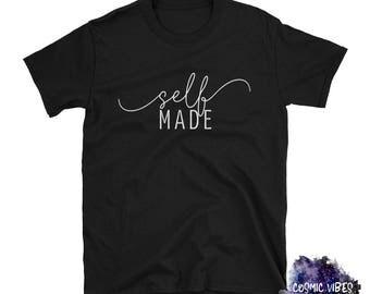 Self Made Minimalist Short Sleeve Unisex T-Shirt - Creative Entrepreneur Boss Lady Cotton Jersey Knit Tee Shirt - Gift Idea For Her