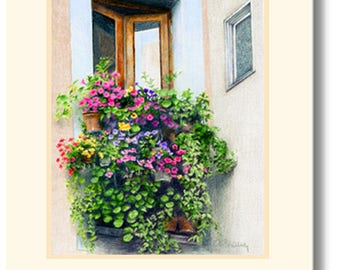 Garden in the Window handmade greeting card