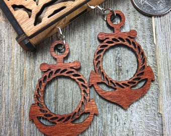 Laser cut wood earrings #16