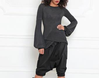 Harem Shorts/ Women Capris/ Baggy Shorts/ Plus Size Capris/ Drop Crotch Shorts/ Capri Pants/ Short Pants/ Cotton Shorts/ Blue Pants/ A-3002