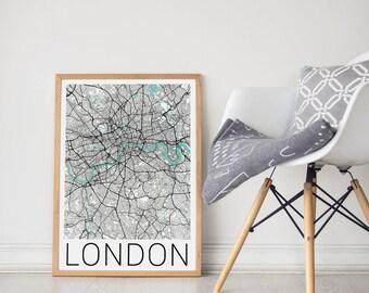 London Map / London Poster / London England / London Map Print /  London Print / London Wall Art / Travel Art / City Map