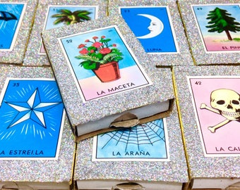 100 Authentic Don Clemente Loteria Matchboxes with SILVER glitter - Mexican wedding favors - Mexican folk art - party/fiesta favors