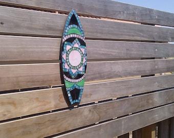 Mini surfboard, beach house decor, outdoor mosaic, surf art, gift