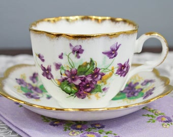 CLEARANCE SALE Vintage Taylor and Kent Purple Violets Floral English Bone China Teacup and Saucer - Scalloped Rims, Gifts for Her Tea Party