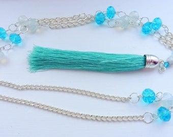 Tassel Necklace Silver & Blue