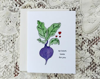 Heart Beets For You / Funny Beet Card / Significant Other / For Girlfriend / For Wife / For Husband / My Heart Beets / Beet Pun