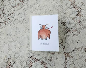 Chouette / French Valentine's Card / Owl Card / Owl Valentine's Card / Pun Cards / Kids Valentine / For Her / For Girlfriend / For Teacher