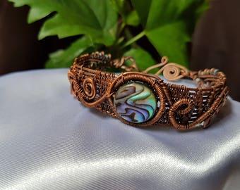 wire wrapped bracelet .copper wire bracelet . Abalone bracelet, handmade jewelry ,
