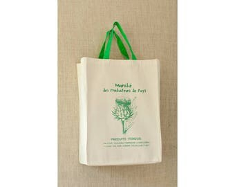 French Market Bag, Farmers Market Bag, Artichoke, Reusable Grocery Bag, Grocery Bag, Reusable Bag, Tote Bag, Canvas Bag