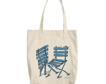 Cotton Tote Bag, chairs illustration in blues