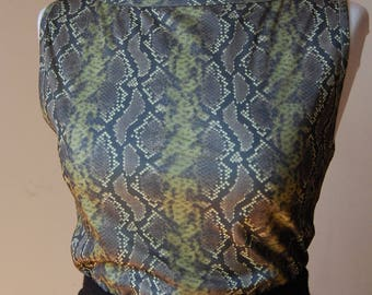 2000er Schlangenhaut Top/ Snake Skin Shirt/ grün/ Schlangen Print/ Vintage Tank Top/ Vintage/ Animal Print