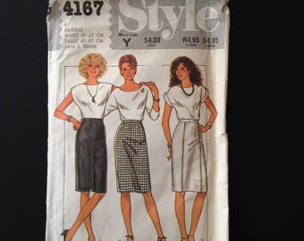 Style 4167. Pencil Skirt with Front Zip Option. High Waist Secretary Skirt. UK Sewing Pattern from 1984