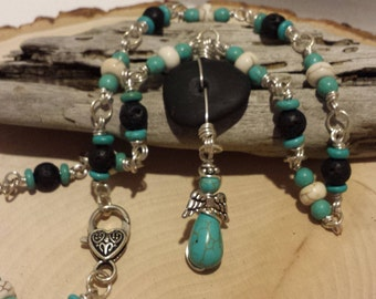 Handmade Drilled Rock Turquoise Angel Jewelry Set. Necklace, Bracelet. Costume Jewelry.