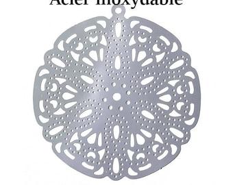 10 pendants carved flower stainless steel