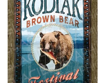 Digital Download Kodiak Brown Bear Festival Poster Alaska Country Printable Alaska Country Bear Sign Printable Alaska Collage Ephemera