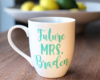 Future Mrs. Personalized Coffee Mug | Engagement Gift | Bridal Shower gift | Custom Mug | New Last Name