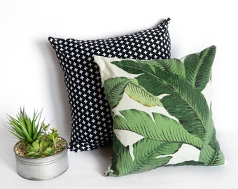 Black and white cross or green banana leaf cover - throw pillow - cushion cover - swaying palms - swiss cross - decorative pillow - modern