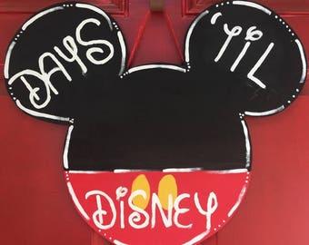 Days Till Disney - Hand Painted Wood Door Hanger - Mickey Door Hanger - Mickey Chalkboard Door Hanger