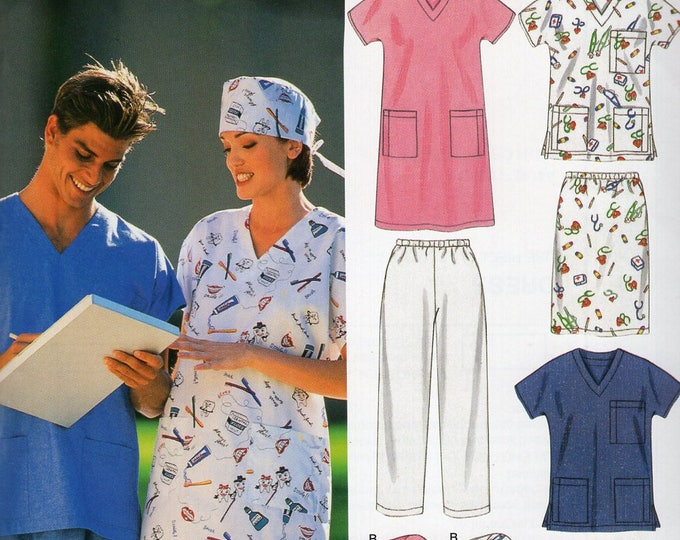 New Look 6777 Free Us Ship Sewing Pattern Dress Nurse Uniform Medical Scrubs Surgery Hat Bust 34 36 38 40 42 44, 46 48  Uncut Out of Print