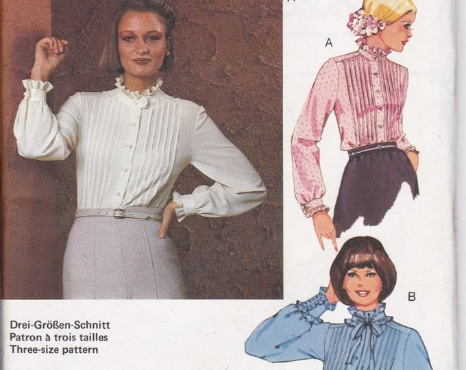 FREE US SHIP Burda 71145 Retro 70's Pleated Blouse Neck Tie Size 10 12 14 16 18 20 Uncut Bust 32 34 36 38 40 42 Sewing Pattern