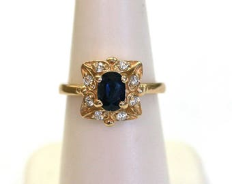 Sapphire Oval Diamond Ring in 14k Yellow Gold Vintage