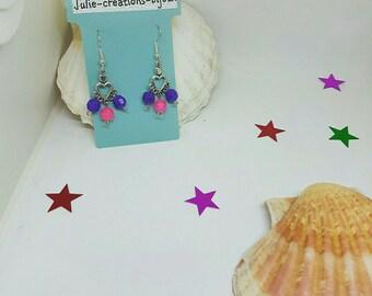 Earrings plastic beads and heart