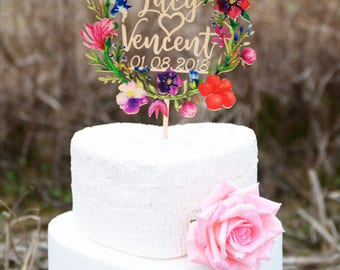 Wedding Cake Topper Personalized with Couples First Names and Wedding Date, Made of Wood and Printed with Colorful Floral Wreath VU004