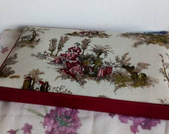 Fabric Covered Box, Vintage French Toile de Jouy Box, Photo Keepsakes Box, Treasures Box