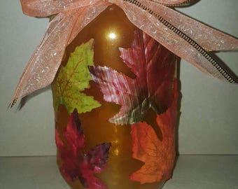 Fall Leaves Mason Jar - Quart