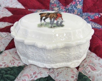 Ivory Porcelain Trinket Box / Equestrian Keepsake Box / Horse Gift / Embossed Trinket Box / & Horse jewelry box | Etsy Aboutintivar.Com