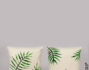 Woolocks® Set of 2 Palm Leaves Cushions 45x45cm