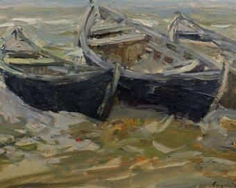 MID CENTURY ART, Original Oil Painting by Soviet artist Y.Lutskevich 1954, Boats, Landscape, Socialist Realism, Soviet Russian Ukrainian art