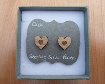 Oak Heart Within Heart Stud Earrings with Sterling Silver Backs, Wood Earring Studs.