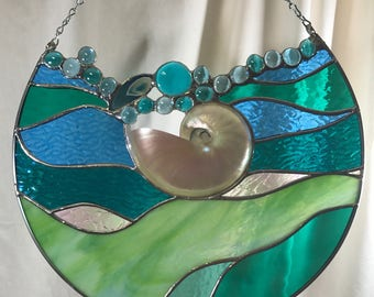 St Pete Beach Inspired Teal/Blue Wave Design 14 inch Stained Glass Panel with Polished Nautilus, Geode, Glass Beads - One of a Kind